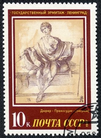 durer: URSS - CIRCA 1987 Un francobollo stampato in URSS, mostra pittura dell'artista Albrecht Durer Giustizia, circa 1987 Editoriali