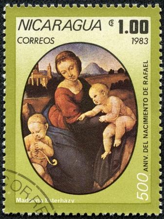 memling: NICARAGUA - CIRCA 1983  A stamp printed in Nicaragua shows Aniv  del Nacimiento, circa 1983