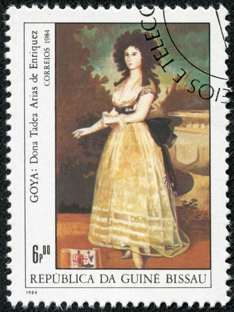 GUINEA - CIRCA 1984  A stamp printed in Republic of Guinea Bissau shows draw by artist Goya - Donna Tadeo Arias de Enriques, circa 1984
