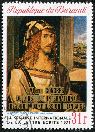 durer: REPUBLIC BURUNDI - CIRCA 1971  a stamp printed in Republic Burundi shows a picture by Albrecht Durer  Self-portrait  , circa 1971  Isolated on black
