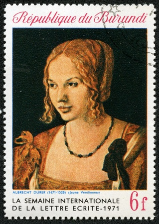 durer: REPUBLIC BURUNDI - CIRCA 1971  a stamp printed in Republic Burundi shows a picture by Albrecht Durer  Portrait of a Young Venetian Woman , circa 1971  Isolated on black Editorial