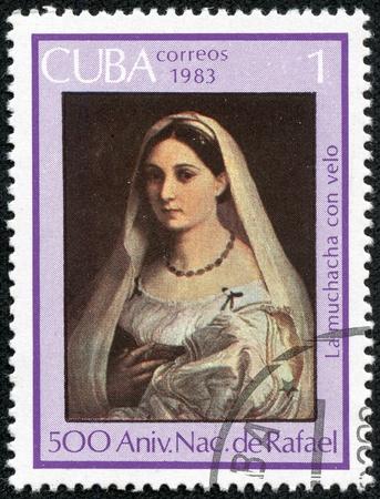 cuba girl: CUBA - CIRCA 1983  Stamp printed in Cuba shows Rafael  The veiled girl , circa 1983