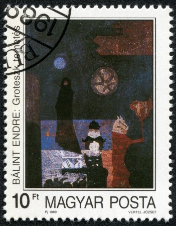 HUNGARY - CIRCA 1989  stamp printed by Hungary, shows Painting by Endre Balint  Grotesque Burial , circa 1989