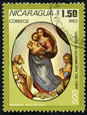 NICARAGUA - CIRCA 1983  A stamp printed in Nicaragua shows madonna de la sixtina, circa 1983