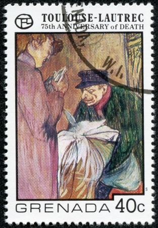 printmaker: GRENADA - CIRCA 1977  A stamp printed in Grenada shows draw by artist Touloise-Lautrec - Laundryman Calling at the Brothal, circa 1977