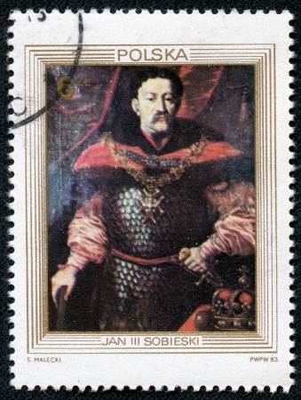 sobieski: POLAND - CIRCA 1983  A Stamp printed in POLAND shows the portrait of a King John III Sobieski, unknown court painter, from the series  King s Portraits , circa 1983 Editorial