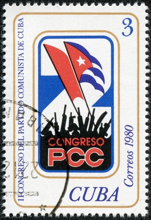CUBA - CIRCA 1980  A stamp printed in Cuba illustrate a draw about the Congress of the Communist Party of Cuba, circa 1980 Stock Photo - 19529679