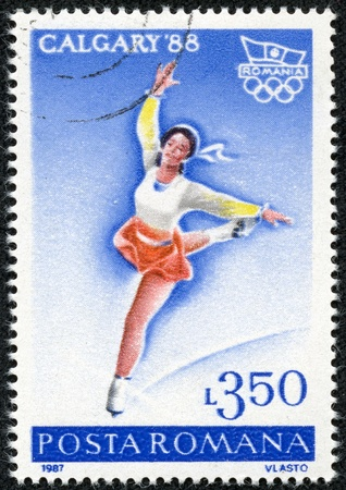 ROMANIA - CIRCA 1987  A stamp printed in Romania, shows Figure skating and Olympic emblem, with inscription  Calgary, 1988 , from the series  Winter Olympic Games, Calgary, 1988 , circa 1987