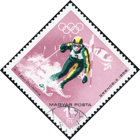 HUNGARY - CIRCA 1968  A stamps printed in Hungary showing an athlete skiing, Winter Olympic sports in Grenoble 1968, circa 1968