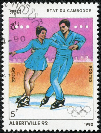 cambodge: CAMBODIA - CIRCA 1990  A post stamp printed in Cambodge shows sportsman and devoted the winter olympic games in Alberville, series, circa 1990 Editorial