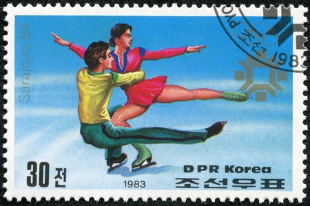 KOREA - CIRCA 1983  stamp printed by Korea, shows professional figure skaters, circa 1983