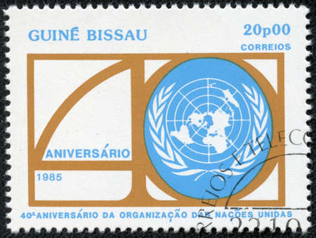 un used: GUINEA-BISSAU - CIRCA 1985  A stamp printed in the Guinea-Bissau shows United Nations, 40th Anniversary, circa 1985