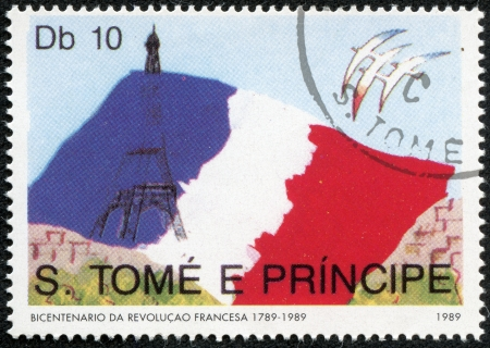 SAO TOME AND PRINCIPE - CIRCA 1989  A stamp from Sao Tome and Principe shows image of the French flag and Eiffel Tower, with inscription and name of series  French Revolution Bicentenary , circa 1989