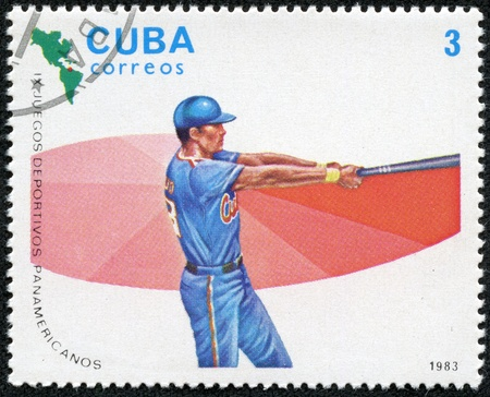 CUBA - CIRCA 1983  A stamp printed in CUBA shows High Baseball, with inscription and name of series  IX Pan-American Games, Caracas , circa 1983