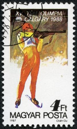HUNGARY - CIRCA 1987  A stamp printed in Hungary shows biathlon, series, circa 1987