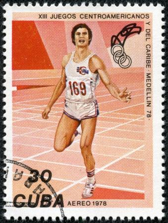 CUBA - CIRCA 1978  A stamp printed in the CUBA, shows Aereo, athlete running, circa 1978