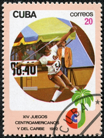 CUBA - CIRCA 1982  A stamp printed in CUBA shows Javelin throwing, with inscription and name of series  XIV Central American and Caribbean Games, Havana , circa 1982