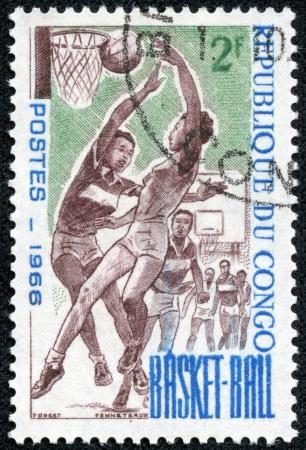 CONGO - CIRCA 1966  stamp printed by Congo, shows Women Basketball, circa 1966