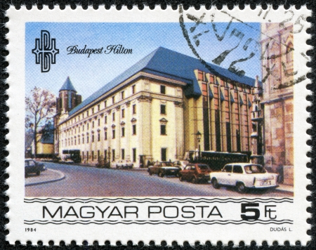 HUNGARY - CIRCA 1984  stamp printed by Hungary, shows Budapest Hilton Hotel, circa 1984