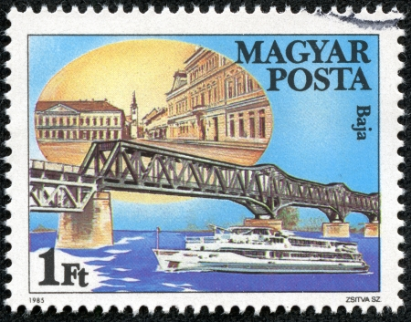 HUNGARY - CIRCA 1985  stamp printed by Hungary, shows Baja Bridge in Hungary, with the inscription  Baja , from the series  Danube Bridges , circa 1985