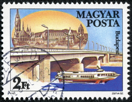 HUNGARY - CIRCA 1985  stamp printed by Hungary, shows Arpad Bridge in Budapest, with the inscription  Budapest  ; ;, from the series  Danube Bridges , circa 1985 Stock Photo - 20289374