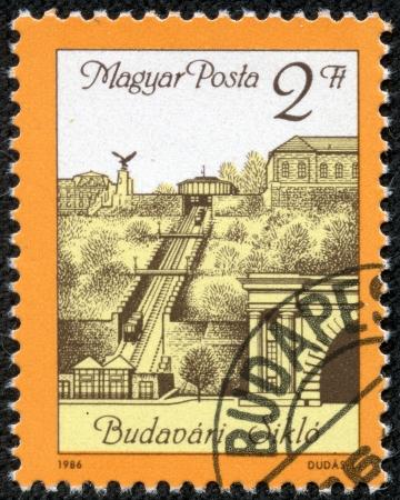 magyar posta: HUNGARY - CIRCA 1986  A stamp printed in Hungary shows Budapest Funicular - Budavari Siklo, circa 1986
