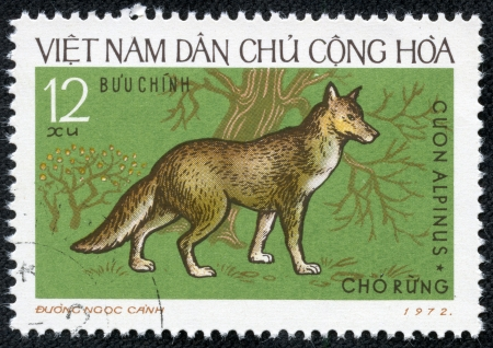 VIETNAM - CIRCA 1972  A stamp printed in Vietnam showing Dhole, circa 1972