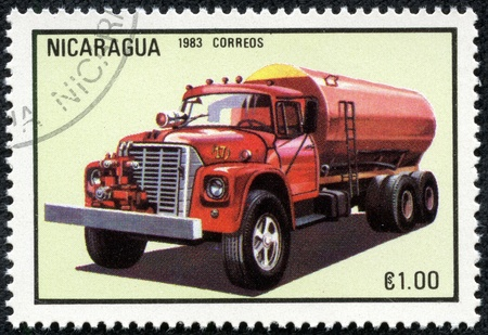 NICARAGUA - CIRCA 1983  A stamp printed in Nicaragua shows firetruck, series, circa 1983