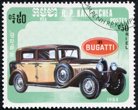 CAMBODIA - CIRCA 1984  A stamp printed in Cambodia shows bugatti retro car, circa 1984  Editorial