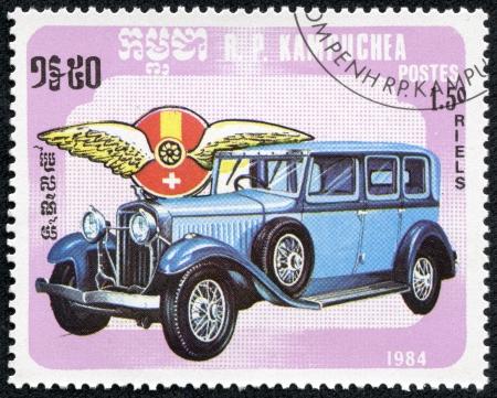 KAMPUCHEA-CIRCA 1984  A stamp printed in the Cambodia, depicts a classic car Hispano-Suiza, circa 1984 Editorial