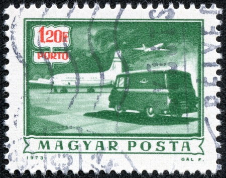 magyar: HUNGARY - CIRCA 1973  A stamp printed by Hungry, show retro car, circa 1973