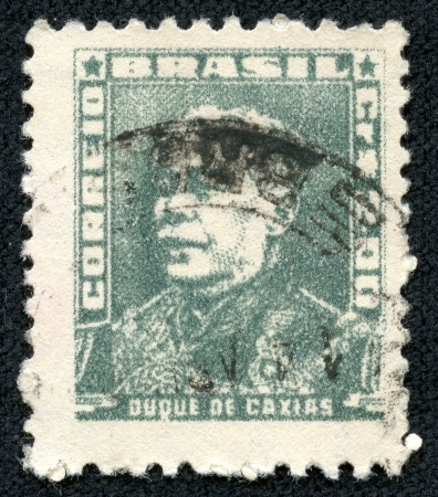 quo: BRAZIL - CIRCA 1954  A stamp printed in Brazil, shows portrait of Duke of Caxias, with the same inscription, from the series  Portraits  ;quo t;, circa 1954