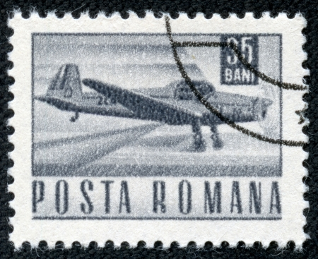 ROMANIA - CIRCA 1967  A stamp printed in Romania shows a Zlin Z-226A akrobat plane, without inscription, from the series  Postal and transport , circa 1967 Stock Photo - 20907015