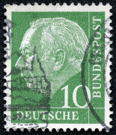 theodor: GERMANY- CIRCA 1954  A stamp printed in Germany shows Theodor Heuss, circa 1954  Editorial