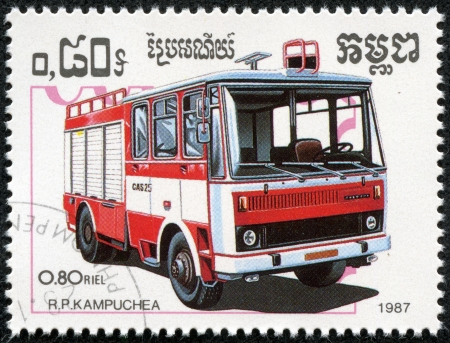 autotruck: KAMPUCHEA - CIRCA 1987  A stamp printed in Kampuchea shows firetruck, circa 1987
