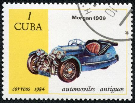 CUBA - CIRCA 1984  A stamp printed in the CUBA, shows car Morgan 1909, circa 1984