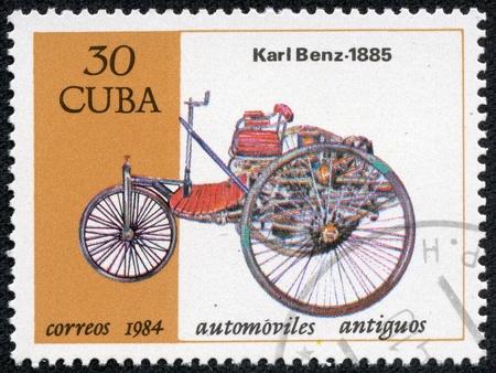CUBA-CIRCA 1984  A stamp printed in Cuba shows a vintage car Carl Benz from 1885, circa 1984