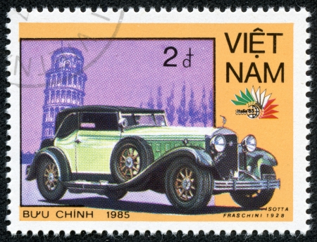 VIETNAM - CIRCA 1985  A stamp printed in Vietnam shows a car Isotta Fraschini  1928  and Leaning Tower of Pisa, series, circa 1985