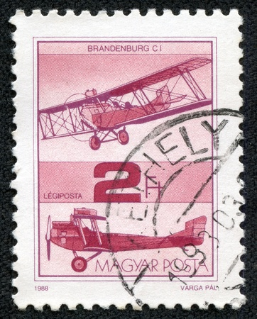 magyar posta: HUNGARY - CIRCA 1988   A stamp printed in Hungary shows Old Airplane, with the inscription  Brandenburg CI , from the series  Airplanes quo t;, circa 1988 Editorial