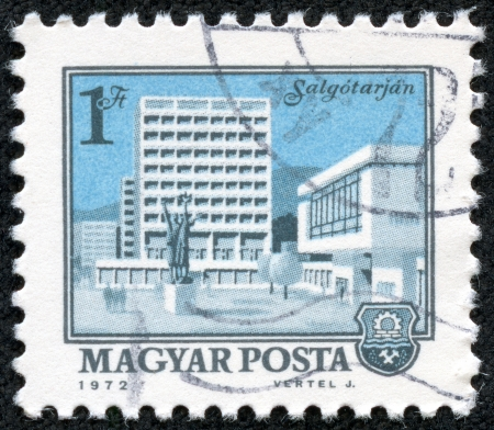 magyar: HUNGARY - CIRCA 1972  A stamp printed in Hungary shows a view of Salgotarjan, circa 1972  Editorial