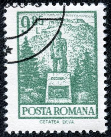 ROMANIA - CIRCA 1972  A stamp printed in Romania from the  Definitives I - Buildings  shows Decebal s statue, Cetatea Deva, circa 1972  Stock Photo - 21252151