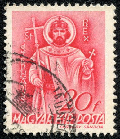 magyar posta: HUNGARY - CIRCA 1939  A stamp printed by Hungary, shows St  Stephen, circa 1939 Editorial