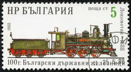 BULGARIA - CIRCA 1988  A stamp printed in Bulgaria, shows old steam locomotive 1888, Bulgarian Railways, circa 1988