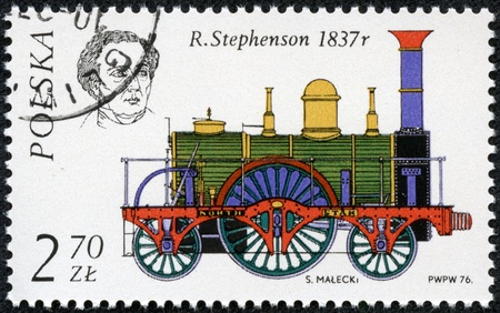POLAND - CIRCA 1976  A stamp printed in Poland shows a Robert Stephenson and his locomotive  North Star , 1837, with the same inscription, from series  History of the Railway Locomotive , circa 1976