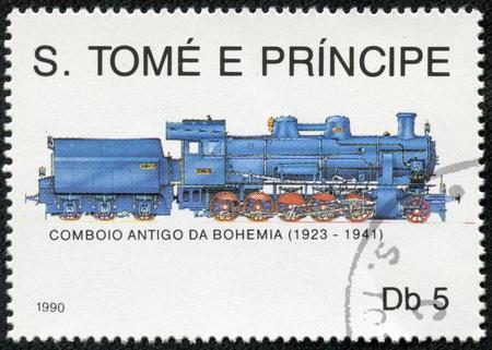 locomotora: TOME PRINCIPE - CIRCA 1990 Obsoleto conmemorativa franqueo cancelado honrar locomotoras del ferrocarril, alrededor de 1990, Tom y Príncipe