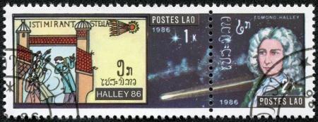 LAOS - CIRCA 1986  A stamp printed in Laos devoted comet Halley, circa 1986