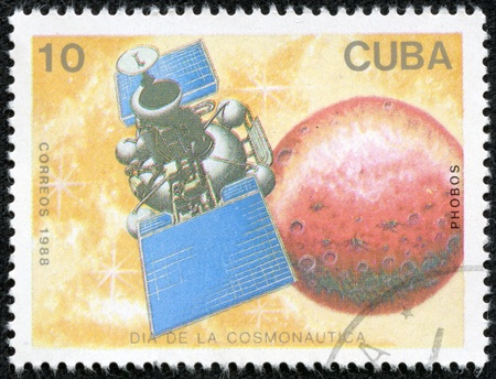 CUBA - CIRCA 1988  A stamp printed in Cuba, shows a spacecraft Phobos, series Cosmonauts Day, circa 1988