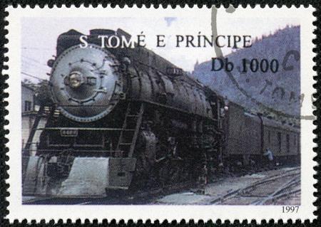 tome: SAO TOME AND PRINCIPE - CIRCA 1997  A stamp printed in Sao Tome shows a train, circa 1997 Editorial