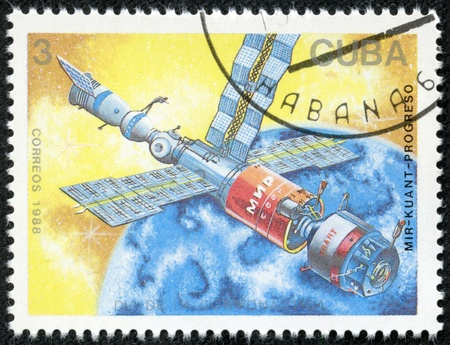 CUBA - CIRCA 1988  A stamp printed in Cuba, shows a spaceships Mir and Kvant space link, series Cosmonauts Day, circa 1988