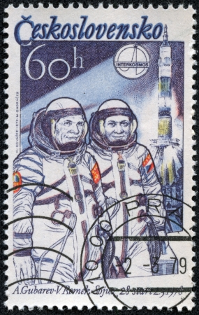 CZECHOSLOVAKIA - CIRCA 1979  stamp printed by Czechoslovakia, shows Aleksei Gubarev and Vladimir Remek, circa 1979